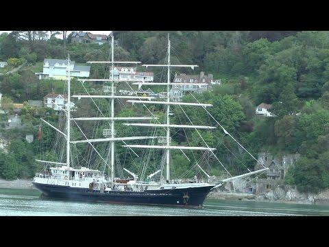 """""""Tenacious"""" 714 ton British wooden sailing ship leaving Dartmouth UK"""