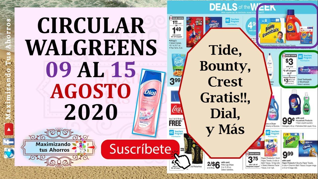 ‼Bounty, Tide, Dial, Crest Gratis Circular Walgreens 👉8/9/20 al 8/15/20