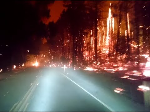Footage of driving through the California Wildfire