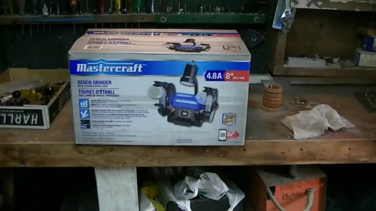 Mastercraft 8 Inch Bench Grinder Unboxing Assembly And