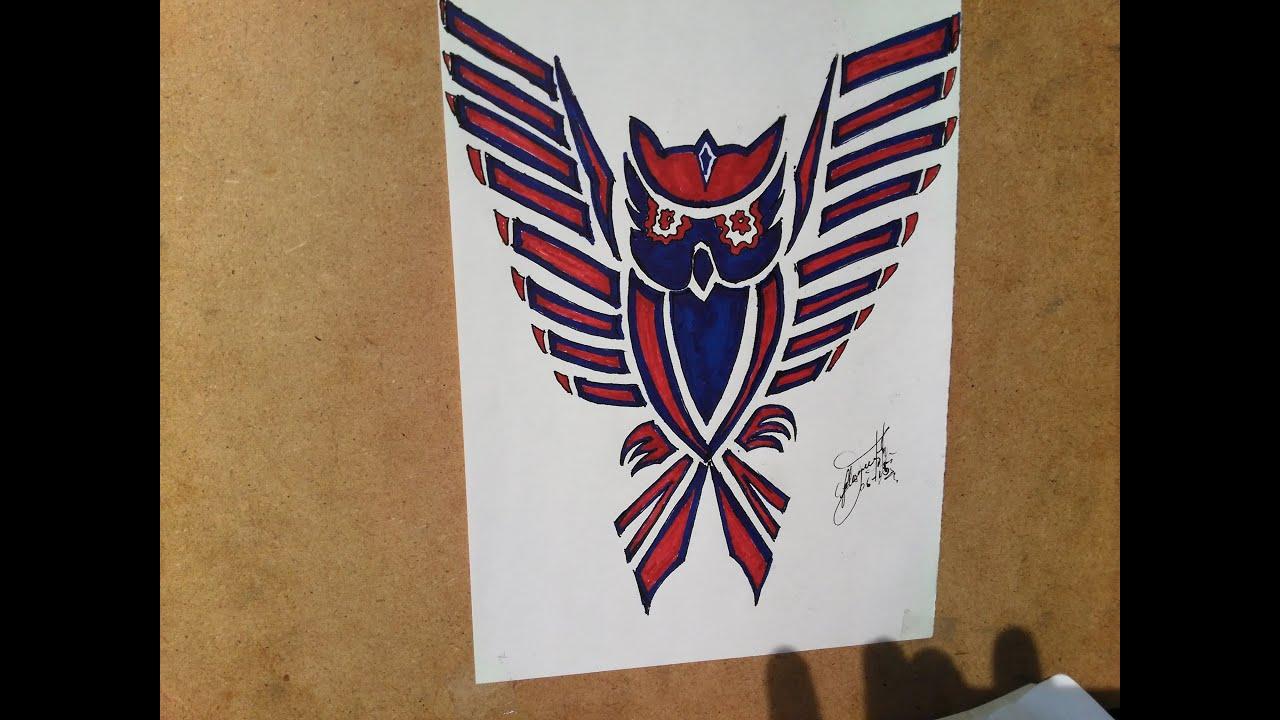 Como dibujar un bho tribal para tattoo How to draw an owl Como