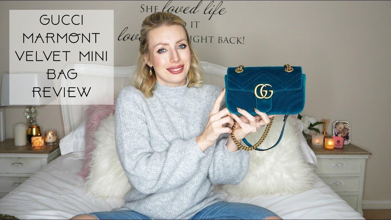3120ffa45ab GUCCI GG MARMONT VELVET MINI BAG REVIEW - YouTube