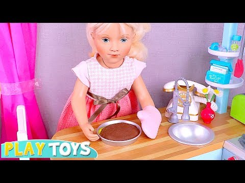 Play Petitcollin Baby Doll & Kitchen Toys! 🎀 Cooking Play Doh Cake!