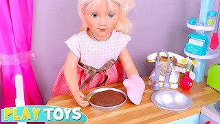 Baby Doll Petitcollin Cooking Cake in Kitchen Toys! 🎀