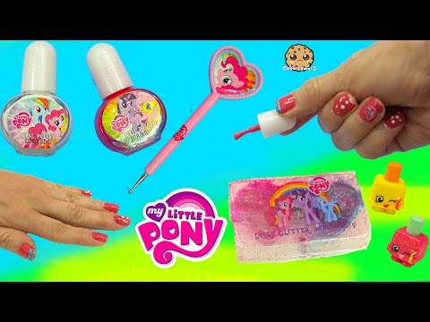 MLP Nail Polish Kit With My Little Pony Polka Dot Dotting Tool & Glitter - Cookieswirlc Video