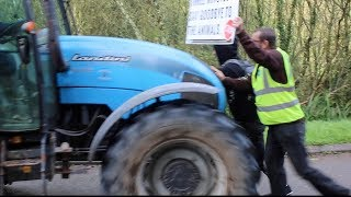 BEEF FARMER DRIVES THROUGH VEGANS WITH A TRACTOR