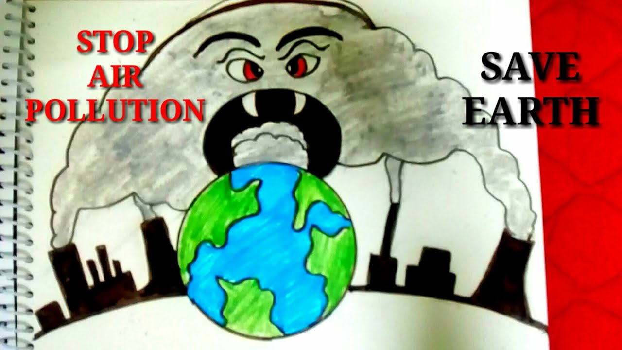Creative drawing idea of stop air pollution step by step