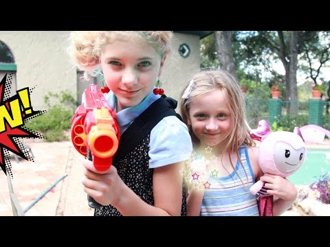 KID SUPERHEROES with the BRIGHTLINGS versus the the Evil Superhero in a real life nerf war!