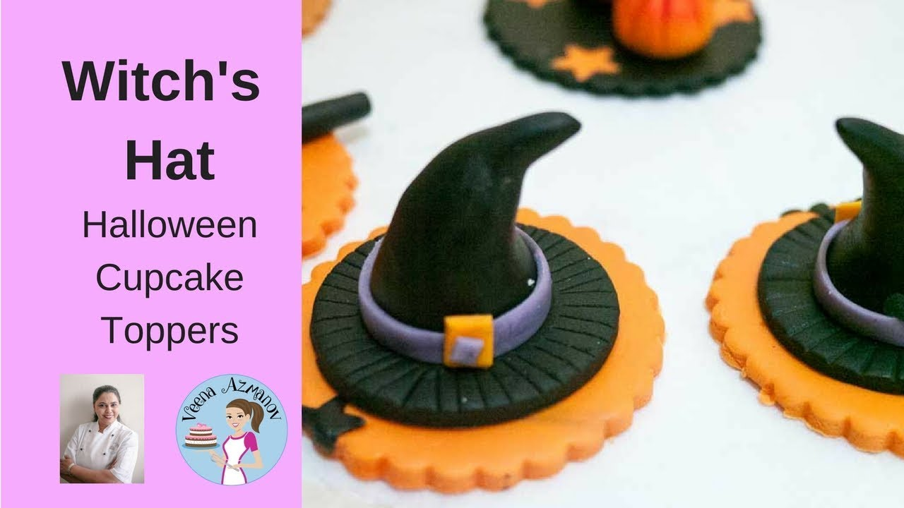 Fondant Witch Hat Cupcake Topper   Halloween Cupcake Tutorial