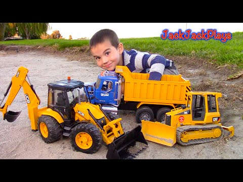 Thumbnail: Bruder Toy Trucks for Kids - UNBOXING JCB Backhoe - Dump Truck, Tractor Loader, Bulldozer