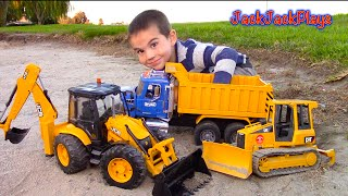 One of JackJackPlays's most viewed videos: Bruder Toy Trucks for Kids - UNBOXING JCB Backhoe - Dump Truck, Tractor Loader, Bulldozer