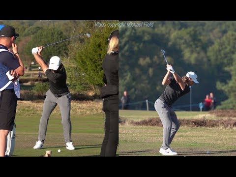 Tommy Fleetwood Golf Swing Short Iron (down-the-line & FO) Sky Sports British Masters, October 2018.
