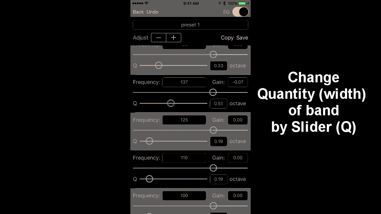 Studio Music Player: using 48 band equalizer