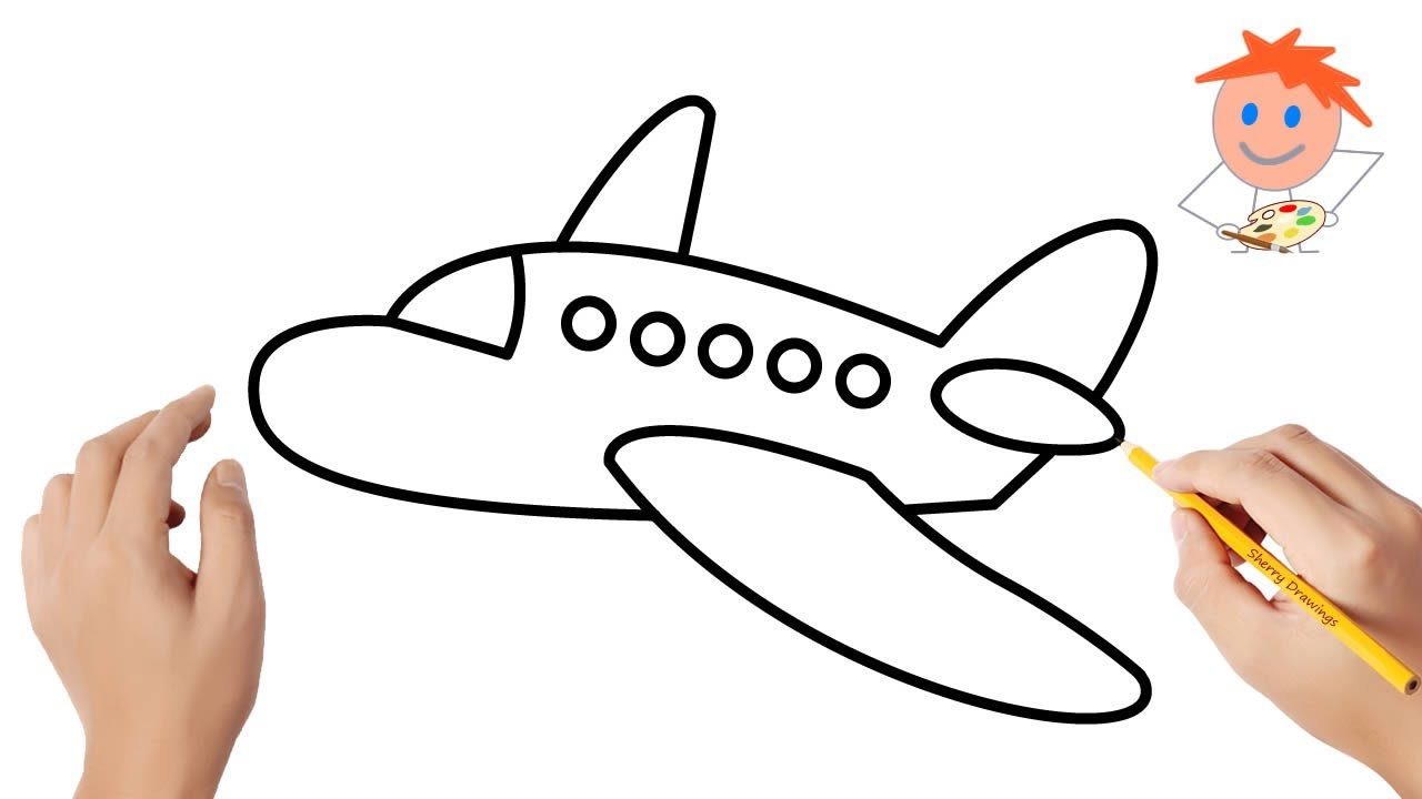 How to Draw an Airplane Easy Step by Step   Drawing for ...