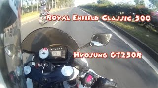 Royal Enfield Classic 500 vs Hyosung GT250R | Sports bike versus Cruiser bike Comparision