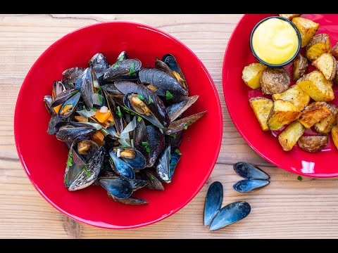 Moules frites, Miesmuscheln belgische Art zubereiten zeigt Dir dieses Kochvideo mit Rezept