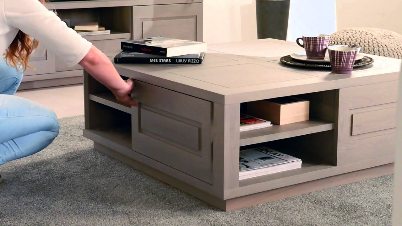 pr sentation de la table basse ambre ch ne massif gris argent 2 portes coulissantes youtube. Black Bedroom Furniture Sets. Home Design Ideas