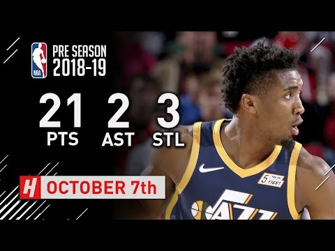 Donovan Mitchell Full Highlights Jazz vs Blazers - 2018.10.07 - 21 Pts, 2 Ast, 3 Steals!