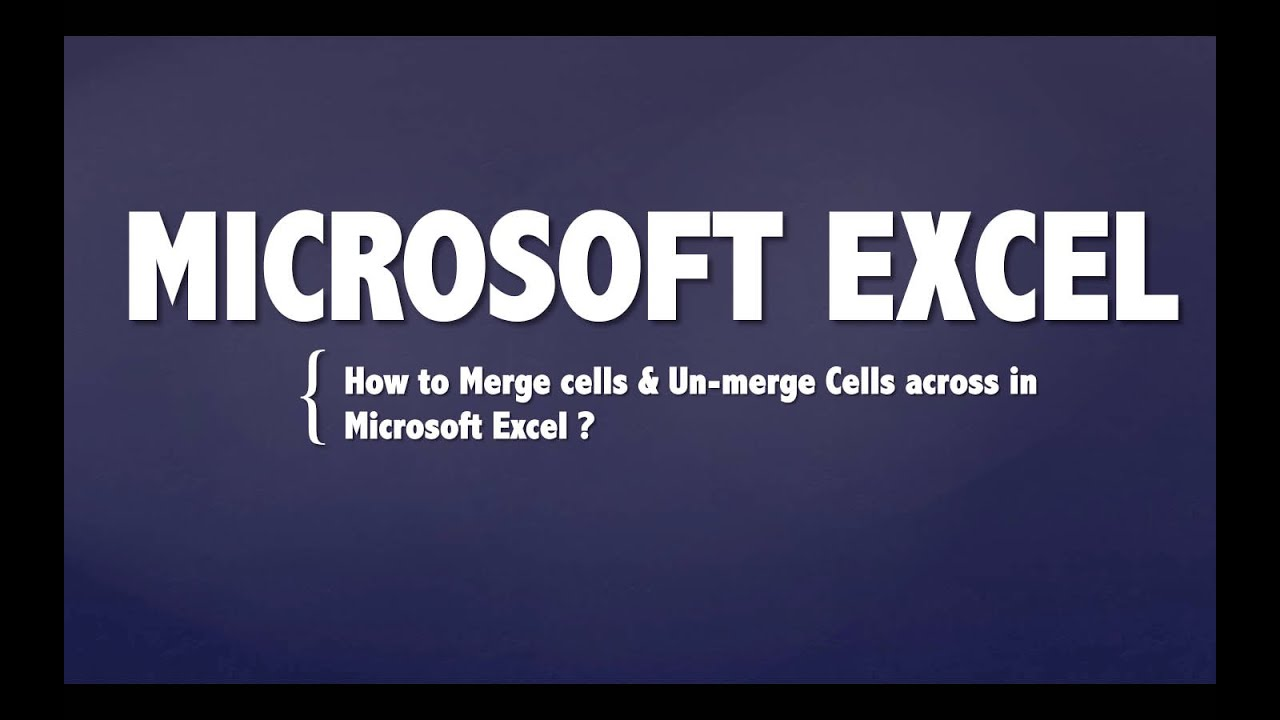 How To Unmerge Merged Cells In Excel