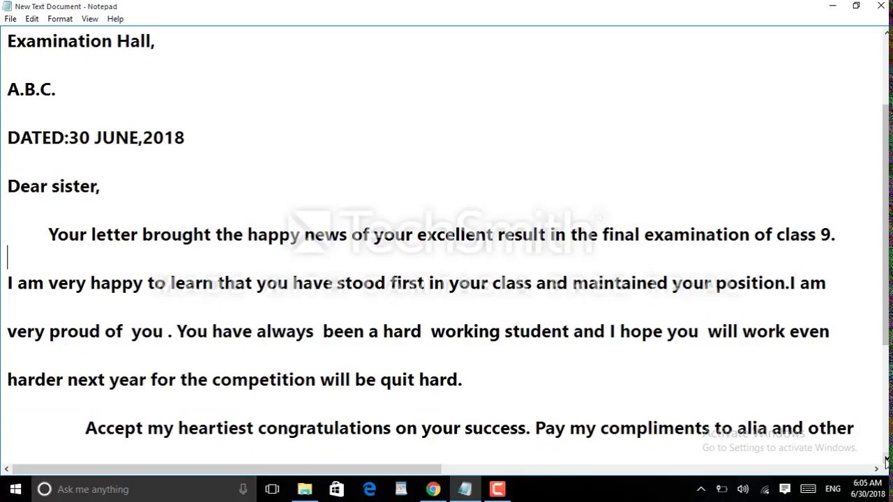 letter to friend congratulating on her success