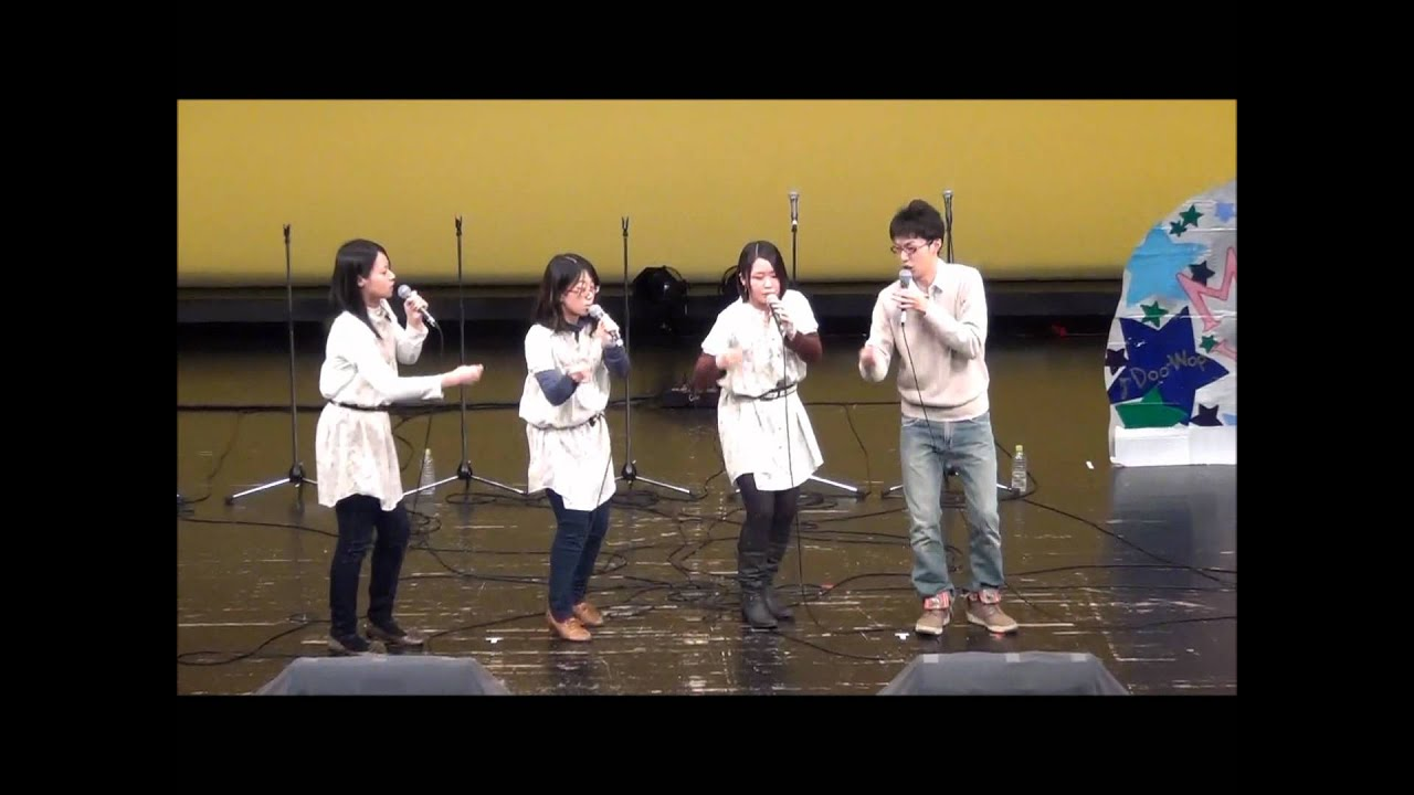 Japanese cappella group (doo-wop and Christmas songs) - A series of songs sung by a Japanese cappella group, including 1950s American style doo-wop songs and Christmas carols.