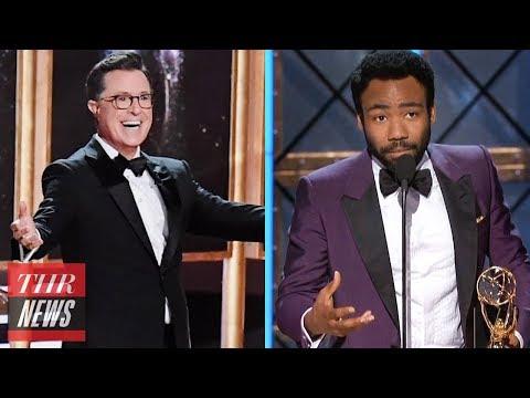 2017 Emmy Highlights: Colbert Musical, Donald Glover Historic Win, Hulu's First Win   THR News