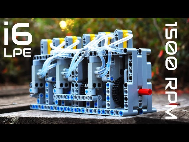 Lego Technic Pneumatic 6 Cylinder Inline Engine - i6 - 1500 RPM! -  With Instructions and Parts List
