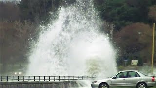 Huge Waves Crash Into Seawall on Lake Erie Seiche