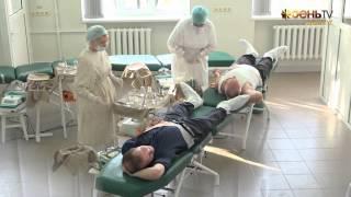 День донора в Донецке. Министры сдают кровь.