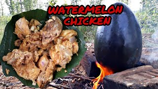Watermelon Chicken recipe in jungle || traditional style cooking || Bongdocs vlog