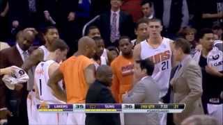 Alex Len and Nick Young get in a Fight and are both Ejected | Suns vs Lakers |