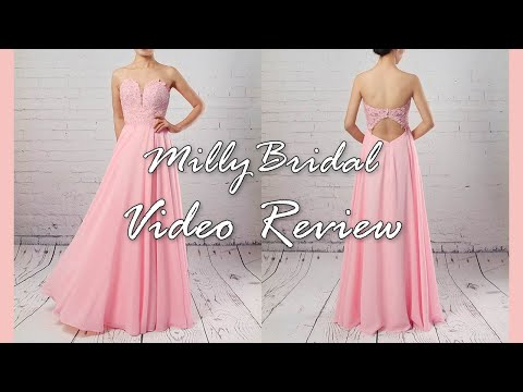 evening-dresses-|-long-a-line-sweetheart-chiffon-pink-formal-prom-dress---millybridal-video-review