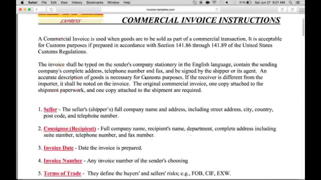 How To Fillin A DHL Commercial Invoice PDF YouTube - Commercial invoice template dhl