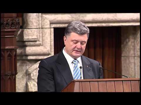 Ukrainian President Poroshenko addresses Parliament, praises Canada