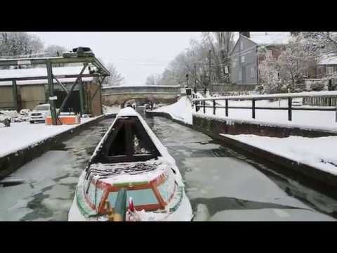 Boating in Snow on the Grand Union Canal near Tring