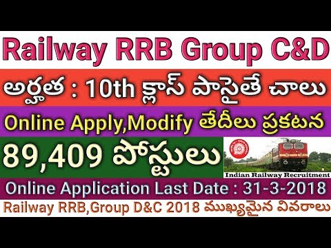 Railway Group C&D 89,409 Posts Recruitment Apply Online,Form Modification Dates | Last Date extended