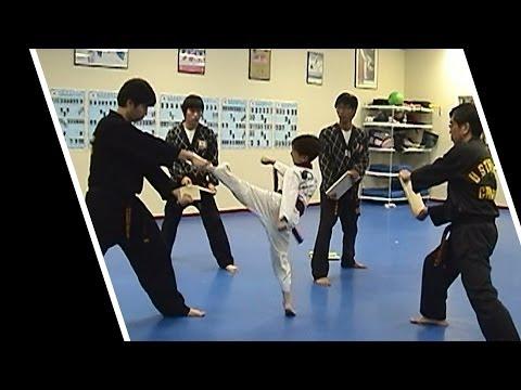 8 Yrs Old Kid - Taekwondo Board Breaking 4 Kicks - Black Belt Test 1st Dan