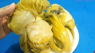 Cách Làm dưa cải muối chua vàng giòn lên men tự nhiên