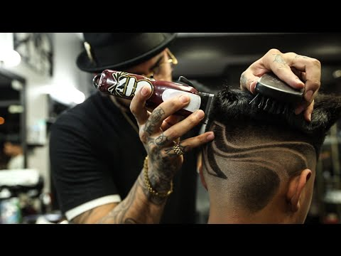 Creative haircut by Diego the barber