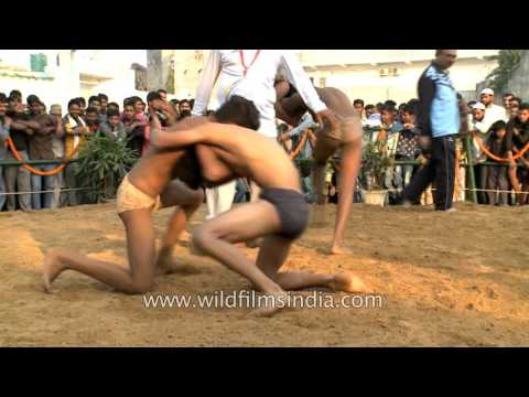 Rural mud wrestling in India