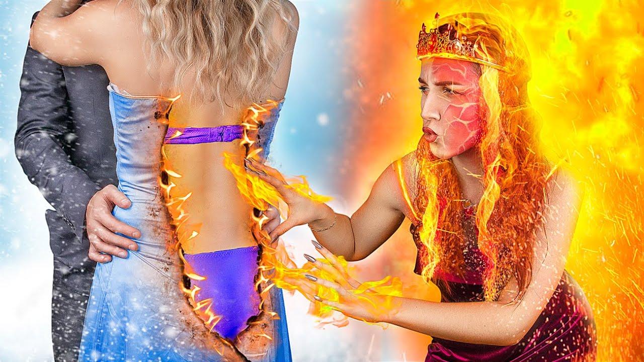 Quente vs Frio / Princesa de Fogo vs Princesa de Gelo