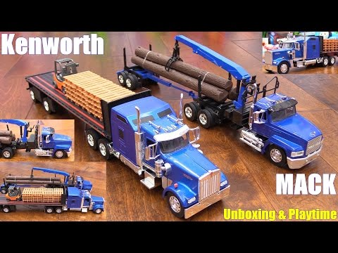 Diecast Toy Trucks! Semi Hauler Trucks. Kenworth and Mack Unboxing. RC TANK Playtime