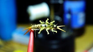 Tying a Golden Stonefly Nymph (triple wing case) with Lively Legz