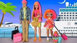 LOL Doll Neon Family  Travel Adventures in Barbie Cruise - Arcade, Dance Party