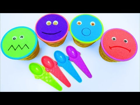 Doraemon Cartoon Characters Chibi Toys Kinetic Sand Ice Cream Cups Surprise Learn Colors for childre