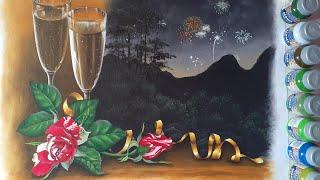 Pintura De Paisagem Noturna (Fita, Folhas E Rosas)