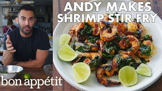 Andy Makes Shrimp and Basil Stir Fry | From the Test Kitchen | Bon Appétit
