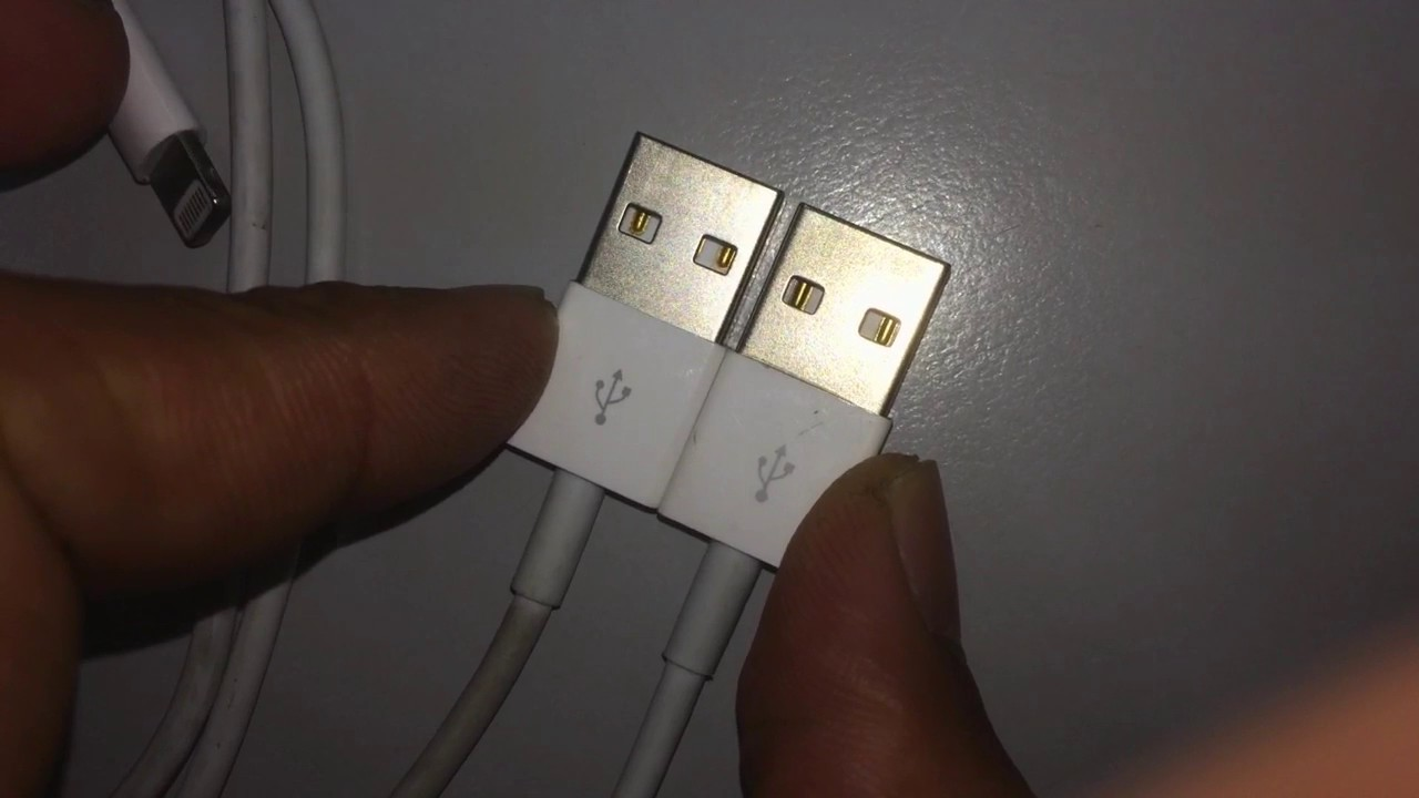 Iphone Cables Original Vs Fake See The Yellow Copper Bit Long Fake