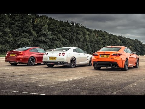 BMW M4 Vs Lexus RC-F Vs GT-R - Top Gear: Drag Races