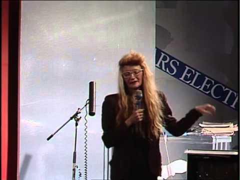 Maryanne Amacher speaking at Ars Electronica. Linz, Austria 1989